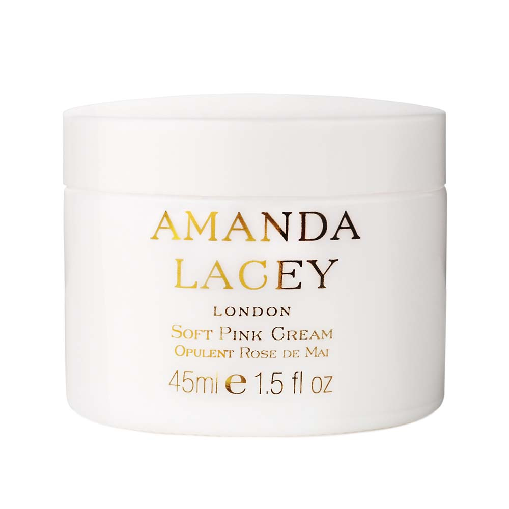 amanda lacey skincare fragrance luxury beauty facialist cleansing products facials soft pink cream opulent rose de mai london